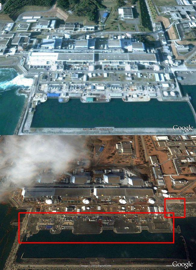 グーグルアースで見られる第1原発の津波前と後