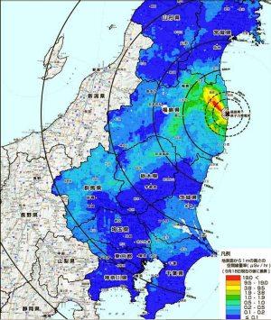 関東東北の汚染マップ(文科省発表のもの)