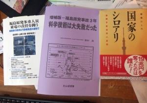真ん中の薄紫色の冊子がそう。右の本も必読(うんざりする内容だけれど、知っていなければいけない)