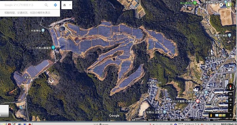 京都市メガソーラー航空写真(Googleマップより)