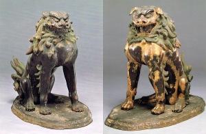 大宝神社の重文狛犬(「獅子・狛犬」京都国立博物館 より)