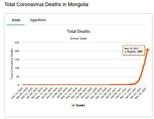 モンゴルのCOVID-19死者数の急増(worldometers.infoより)
