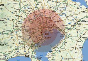 福島原発が東京湾にあったら……20km、30km圏はこのくらい